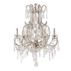 French Crystal and Gilded Iron Chandelier with Scroll Arms and Ornate Beading