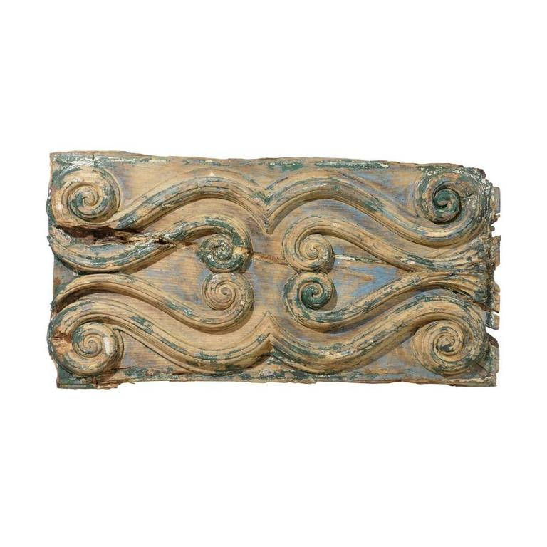 An Italian Volutes Decorated Wood Carved Wall Hanging Plaque, Late 18th Century