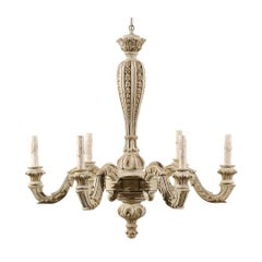 French Six-Light Carved Wood Chandelier with Scroll Arms in Grey-Green Hues