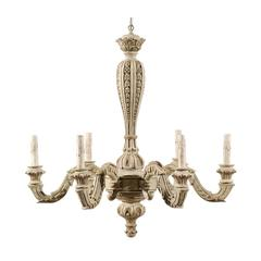 French Six-Light Carved Wood Chandelier of Grey-Green Color with Brown Accents