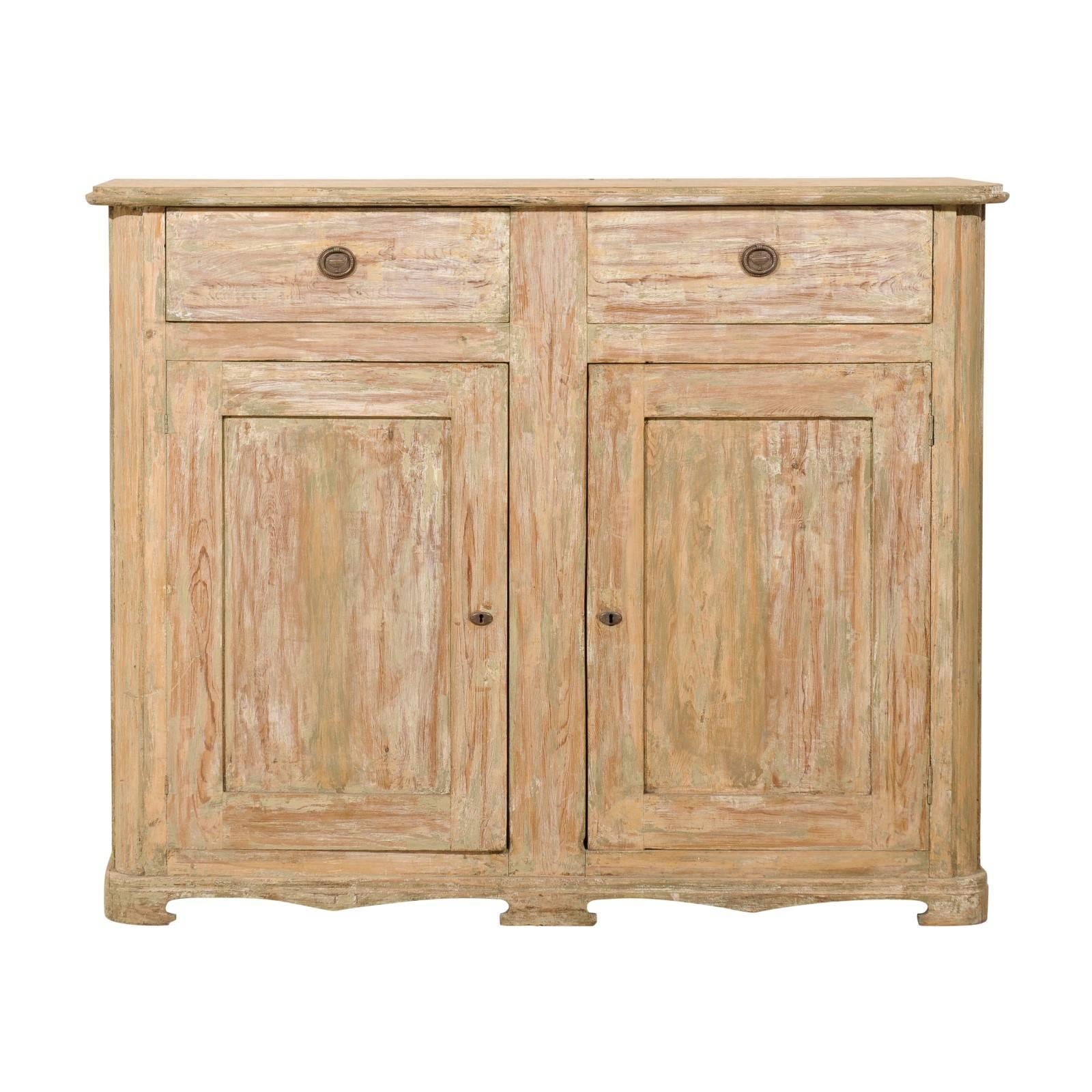 Swedish Painted Wood Buffet with Two Drawers and Two Doors from the 19th Century