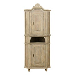 Swedish Early 19th C. Painted 2-Door Corner Cabinet with Carved Pediment Bonnet