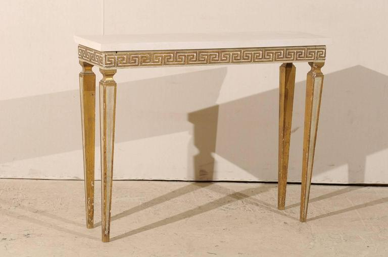 Italian Vintage Greek Key Console Table With Marble Top And Fluted Legs 3