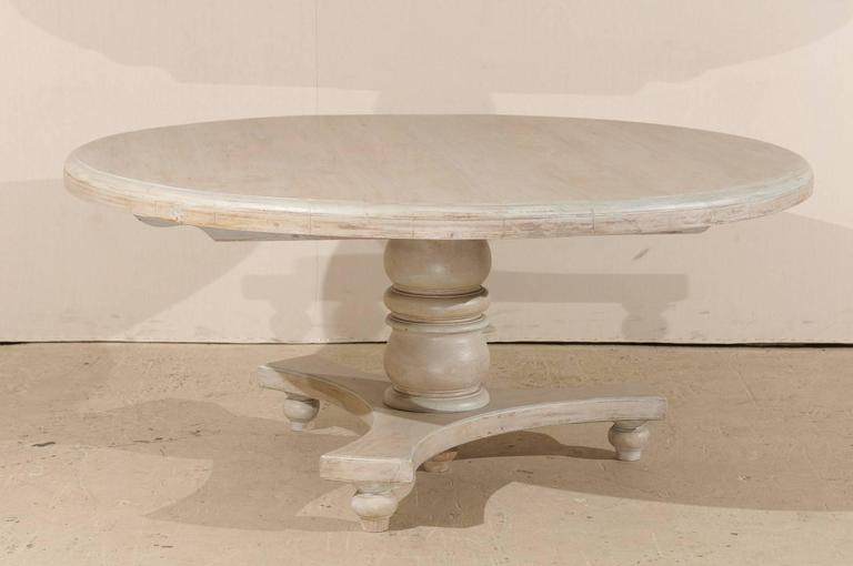 Round Teak Wood Dining Table with Central Pedestal and ...