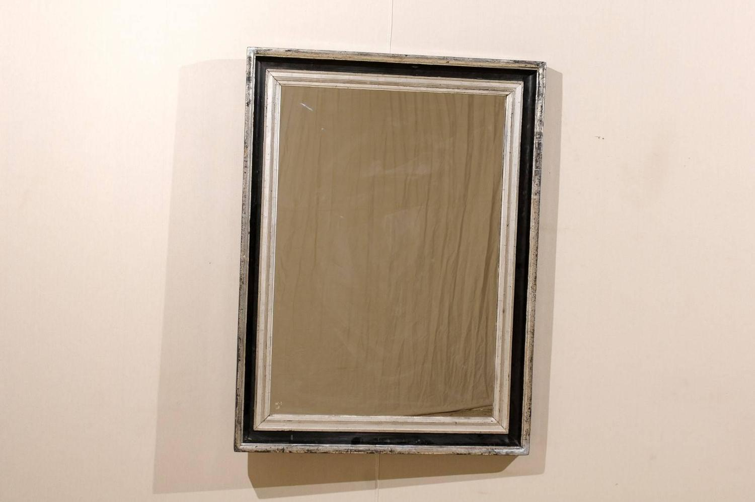 French rectangular black and silver mirror with clean for Silver mirrors for sale