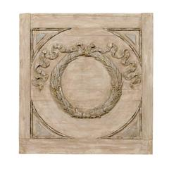 A French Carved Wood Wreath Decorative Hanging Turn of the Century Wall Plaque