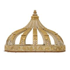 Italian Bed Corona or Bed Crown with Gilt Accents and Carved Rinceaux Frieze