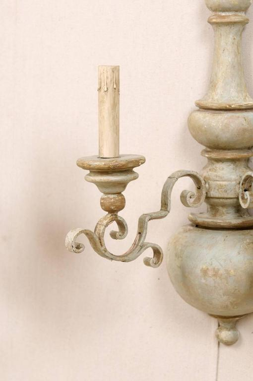 Metal Scroll Wall Sconces : Pair of Painted Metal and Turned Wood Two-Light Sconces with Ornate Scroll Arms For Sale at 1stdibs