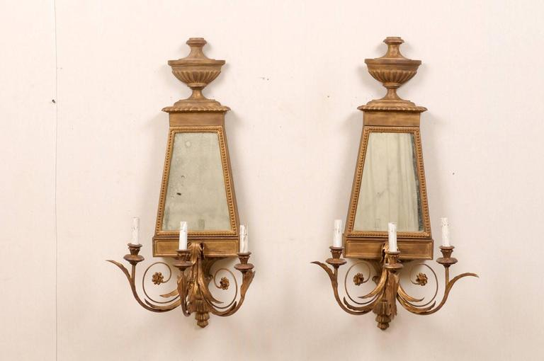 Pair Of Italian Mirrored Sconces Made Of Wood And Metal In