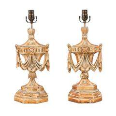 Pair of Italian Table Lamps, Painted and Carved, Featuring Urn and Swag Carvings