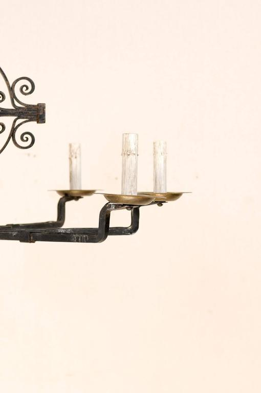 Italian Eight-Light Wrought Iron Chandelier in Black and Dark Gold Color For Sale 2