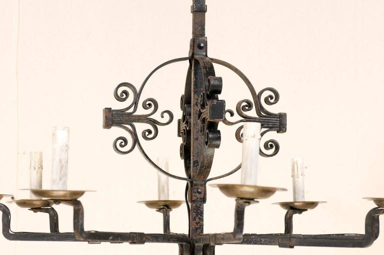 Italian Eight-Light Wrought Iron Chandelier in Black and Dark Gold Color In Good Condition For Sale In Atlanta, GA