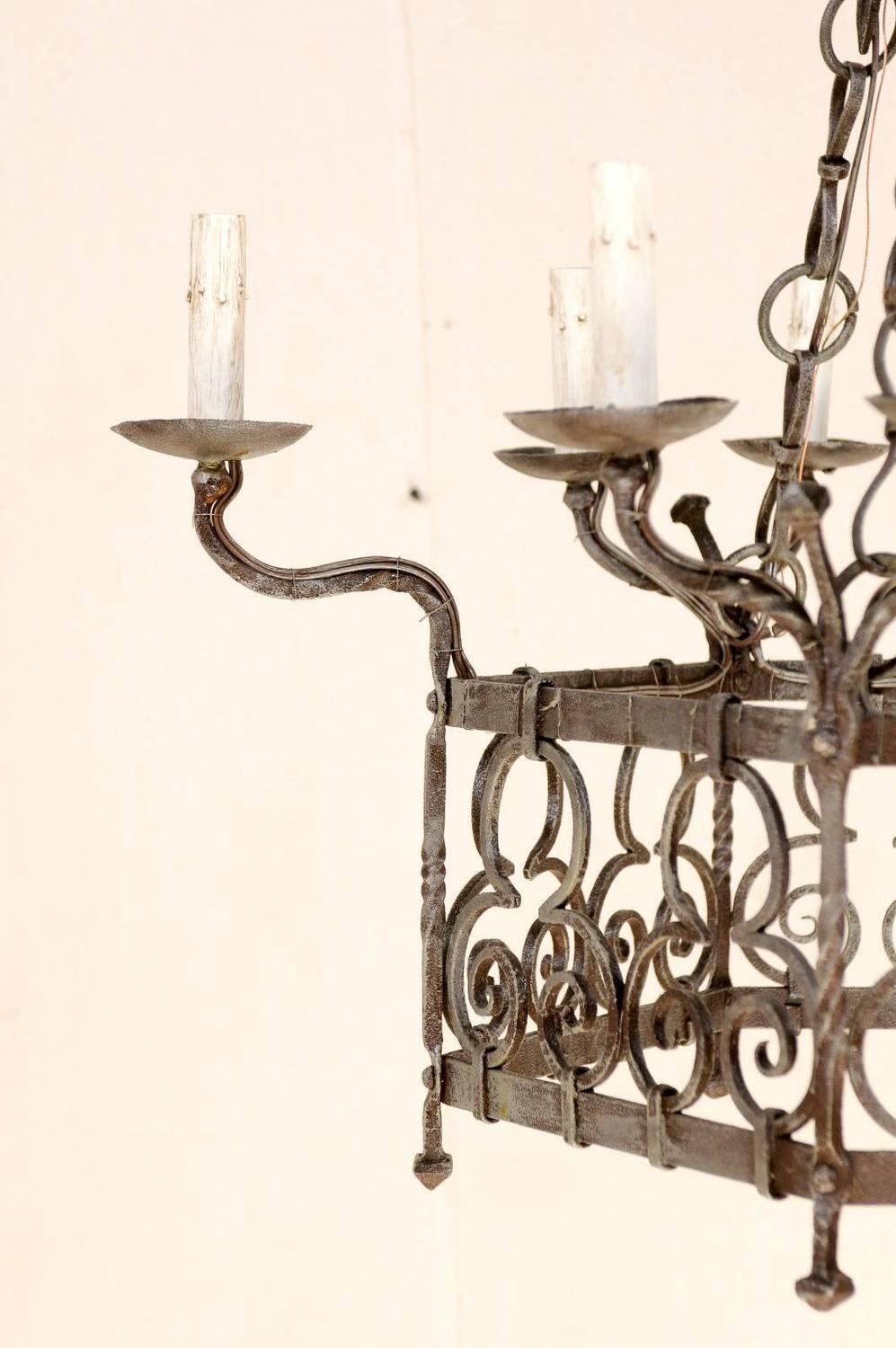 french gothic style nine light vintage iron chandelier with scroll designs for sale at 1stdibs. Black Bedroom Furniture Sets. Home Design Ideas