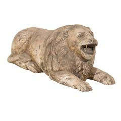 Carved Wood Roaring Lion from the Early 20th Century