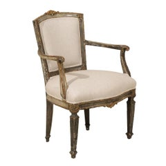 Single Italian Armchair with Richly Carved Wood Details in Brown/Green Color