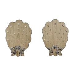 Pair of Mirrored Candle Sconces with Bubble Motifs and Scalloped Back-Plate
