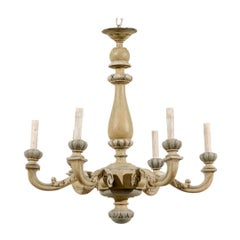 French Carved and Painted Wood Six-Light Vintage Chandelier, Neutral Color