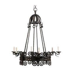 Italian Six-Light Black Iron Ring Chandelier with Scroll Motifs and Domed Canopy
