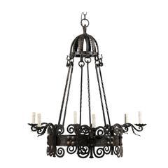 Italian Six-Light Black Circular Iron Vintage Chandelier with Scroll Motifs