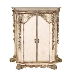 Italian Ornately Carved Two-Door Cabinet in Soft White Color with Silver Accents