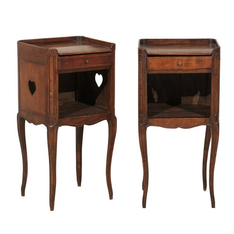 Pair of French Stained Wood Side Tables or Nightstands in Warm Cabernet Mahogany For Sale
