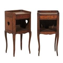 Pair of French Stained Wood Side Tables or Nightstands in Warm Cabernet Mahogany