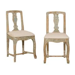 Pair of Swedish Period Rococo Side Chairs in Soft Green, Beige and White Color