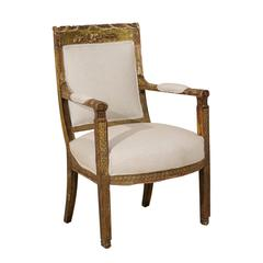 Italian Accent Armchair with Richly Carved Wood and Aged Gilding, 19th Century