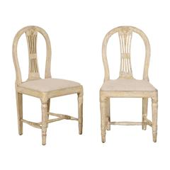 Pair of Swedish Provincial Gustavian Wheat Back Side Chairs, Warm Beige White