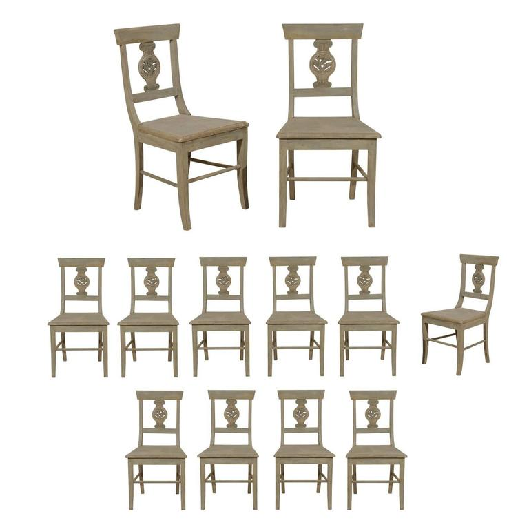 Set of 12 Carved Wood Side or Dining Chairs in Grey Green Color, Column Motif
