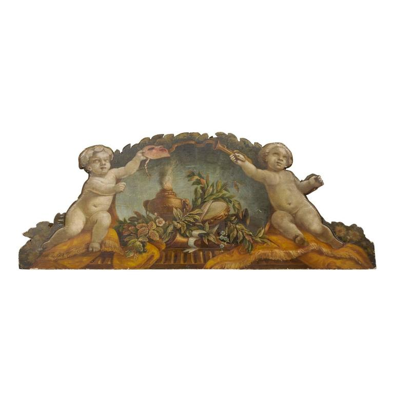 Exquisite 19th Century Italian Panel Featuring Allegories of Music and Theater For Sale