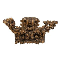 Italian Rococo Style Early 19th Century Giltwood Fragment with Rich Carving