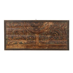 Italian Rectangular Ceiling Panel / Wall Decoration Painted with Rinceaux