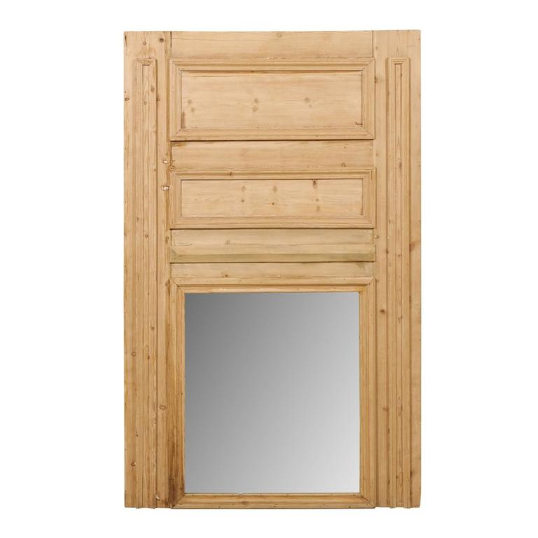 French 19th Century Pine Wood Trumeau Pier Mirror with Nice Visible Wood Grai