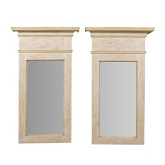 Pair of Large Size Painted Wood Trumeau Mirrors with Scraped Finish