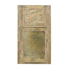 French 19th Century Trumeau Mirror Heavy Antiquing and Scraped Beige Wood Finish