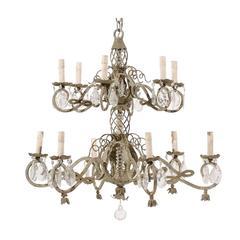 French Two-Tiered Twelve-Light Metal and Crystal Chandelier in Grey Green Color