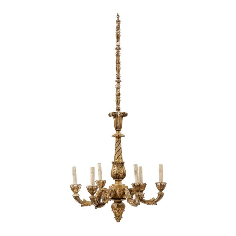 French six light gilded wood chandelier with tall extension and aged a tall and slender french six light giltwood chandelier with ornate decoration and beautiful aging aloadofball Image collections