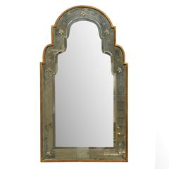 Paris Venetian Style Mirror with Bonnet Type Crest and Gilded Frame