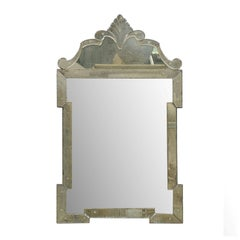 """The """"Hugh"""" Venetian Style Mirror, Hand-Silvered and Hand-Made with Ornate Crest"""