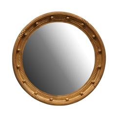 Girandole Bullseye Gilded Wood Circular Mirror with Antiqued Glass