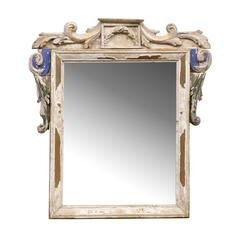 Italian 19th Century Carved Wood Mirror with Volutes Motifs and Blue Accents