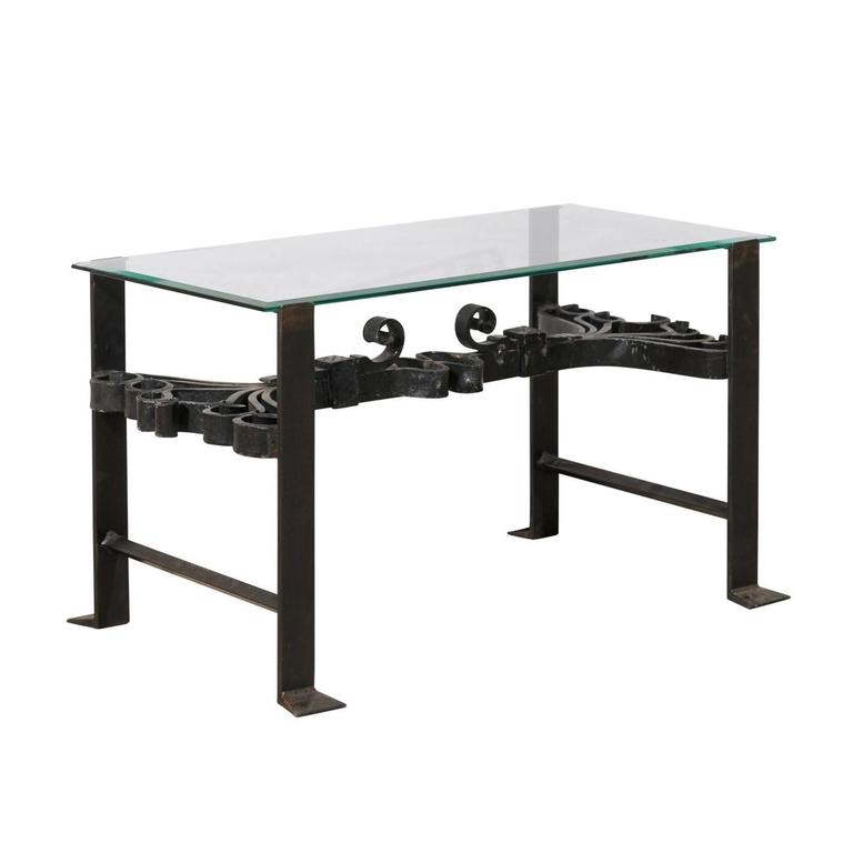 Italian Wrought Iron Black Colored Coffee Table With Glass