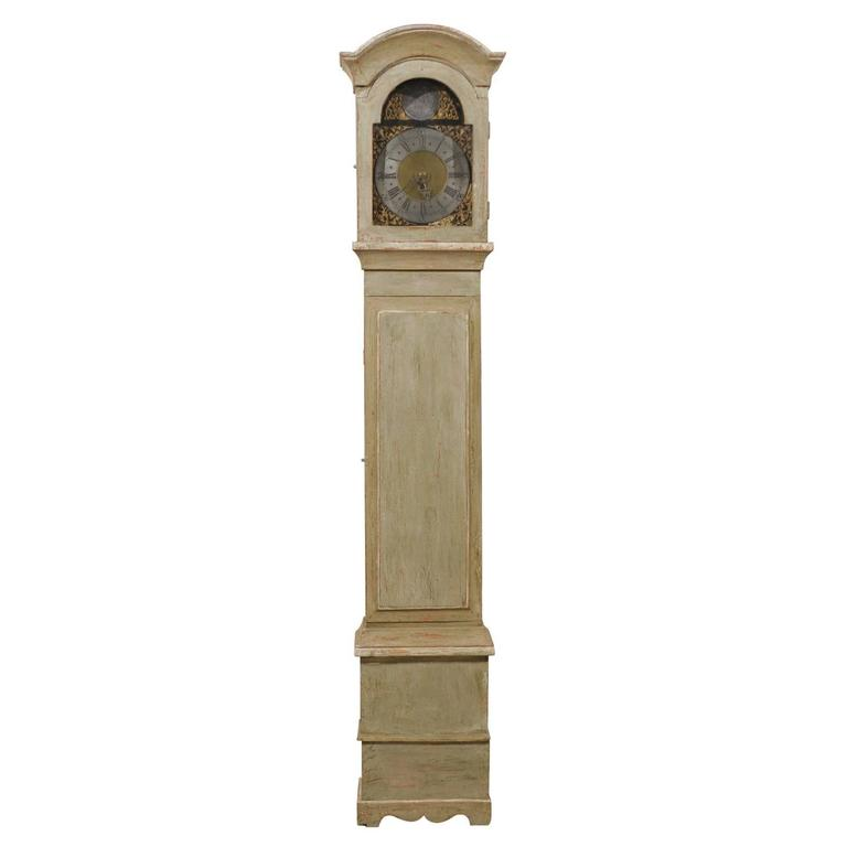 Swedish 19th Century Floor Clock with Linear Body and Pewter Ring Face