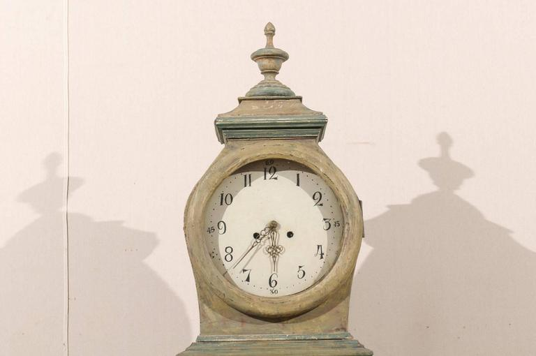 Swedish 19th Century Wood Long Case/Floor Clock in Taupe, Grey and Green Colors For Sale 2