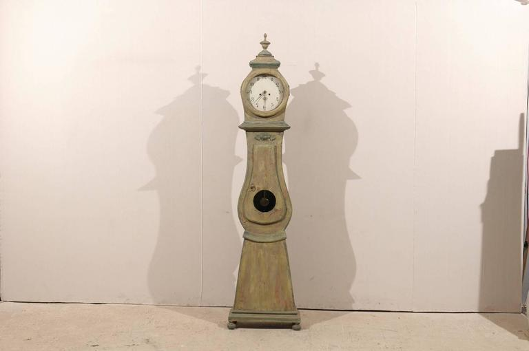 Swedish 19th Century Wood Long Case/Floor Clock in Taupe, Grey and Green Colors For Sale 6