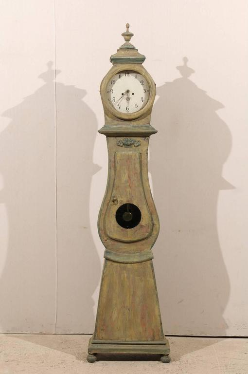 Carved Swedish 19th Century Wood Long Case/Floor Clock in Taupe, Grey and Green Colors For Sale