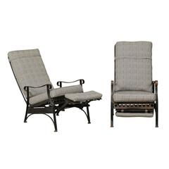 Pair of Iron Patio Armchairs with Clover and Dot Motif Along the Front Seat Rail