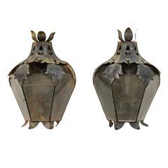 Pair of Mexican Handcrafted Folk Art Candle Light Sconces with Lantern Look