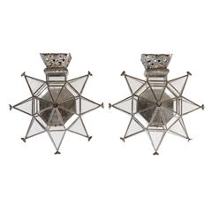 A Pair of Mexican Star Shaped Single Candle Sconces of Old Tin and Glass, 20th C